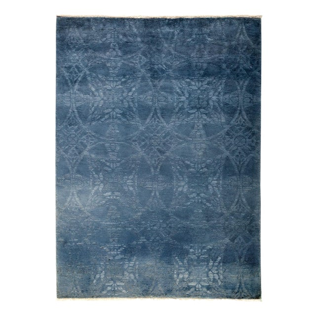 "Blue Over-Dyed Hand-Knotted Rug - 5'2"" X 6'10"" - Image 1 of 3"