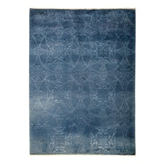 """Blue Over-Dyed Hand-Knotted Rug - 5'2"""" X 6'10"""""""