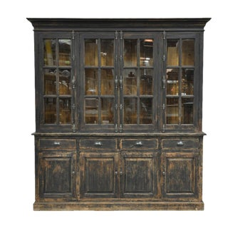 Black Distressed Display Cabinet
