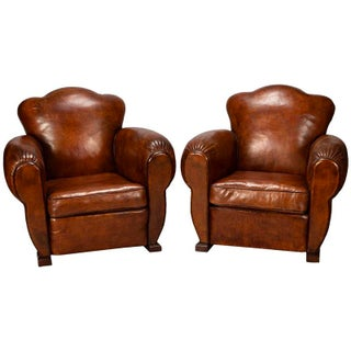 French Art Deco Leather Club Chairs - A Pair