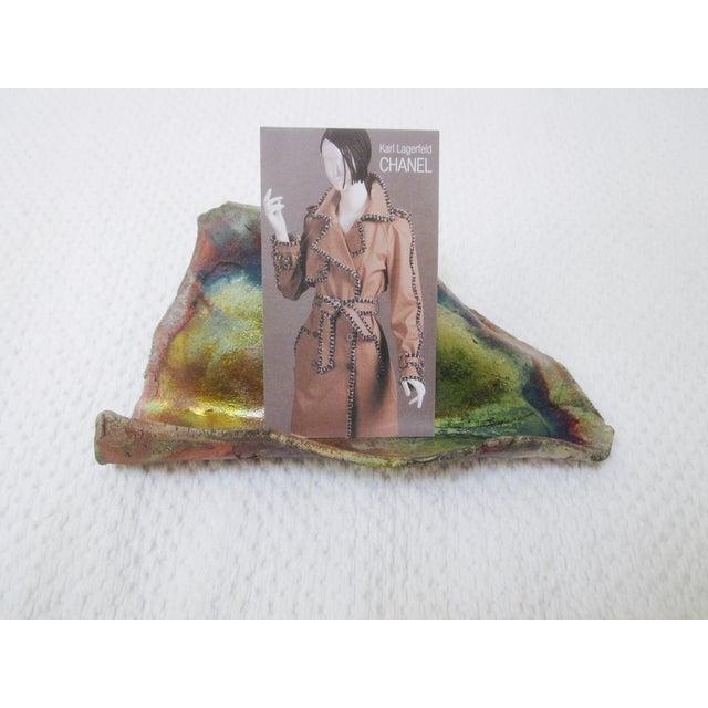 Image of Modernist Organic Ceramic Raku Card Holder