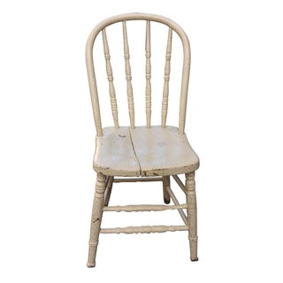 Antique Cream Farm Chairs - Set of 6
