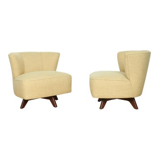 Mid Century Yellow Low Chairs - a Pair