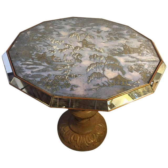 Chinoiserie Style Center Table with Eglomise Glass Top on a Single Pedestal - Image 1 of 10