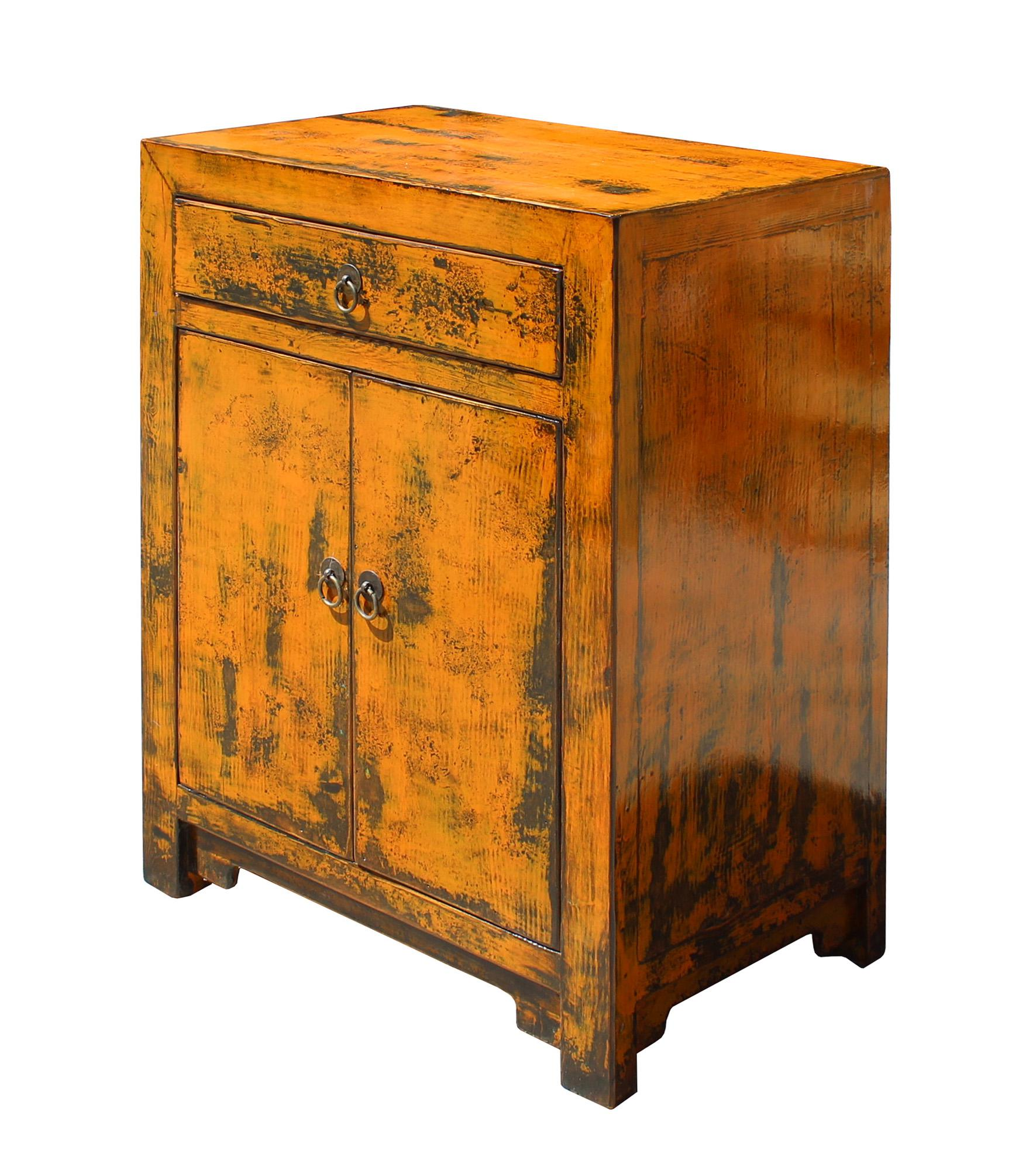 Oriental Chinese Distressed Orange Side Table Cabinet   Image 4 Of 7