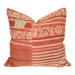 Vintage Kantha Coral Quilt Pillow