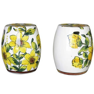 Italian Hand-Painted Garden Stools - A Pair