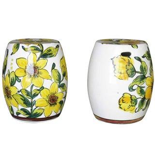 Italian Hand-Painted Garden Stools - Pair