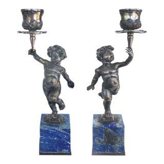 Fine Pair of Silver and Lapis Lazuli Buccellati Cherub Candlesticks