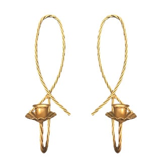 Braided Gold Wall Sconce Candlesticks - A Pair