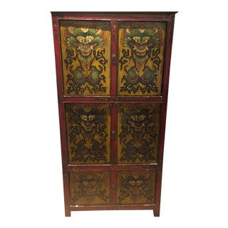 Antique Tibetan Hand-Painted Six Door Cabinet