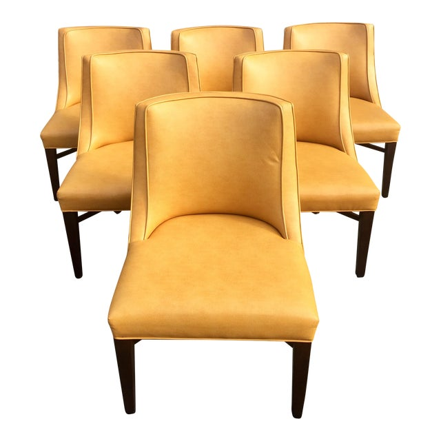 Contemporary yellow dining chairs set of 6 chairish for Modern yellow dining chairs