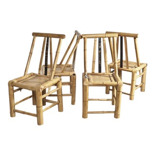 Asian Bamboo Dining Chairs - Set of 4