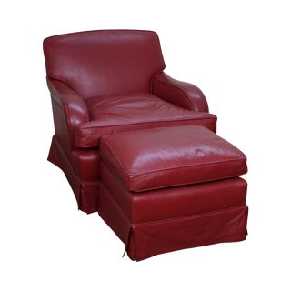 Martin Industries Red Leather Lounge Chair W/ Ottoman