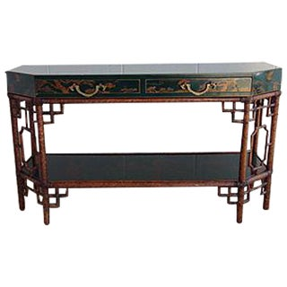 Chinoiserie Bamboo Console Table
