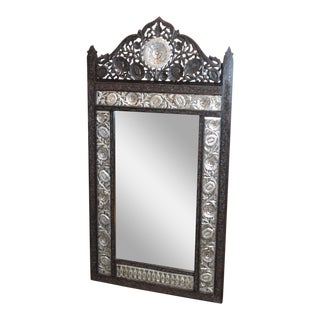 Unique Carved Ornate Solid Black Teak & Silver Finish Wall Mirror