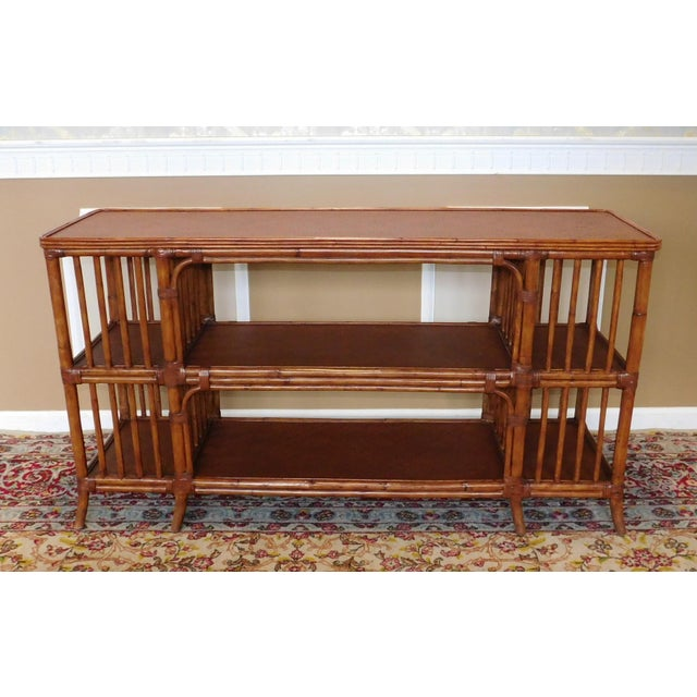 Ethan Allen Rattan Media Console Sofa Table - Image 2 of 9