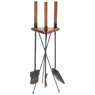 Mid-Century Modern Oak Fire Tools and Tripod Carrier