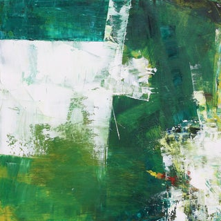 Paul Ashby Green & White Abstract Oil Painting