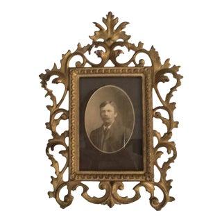 Victorian Rococo Portrait in Iron Frame
