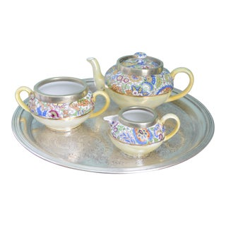 Antique English Tea Service & Caddy - 4 Piece Set