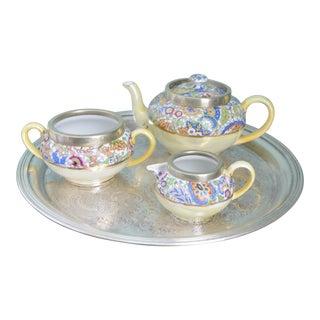 Antique English Tea Service Caddy & Tray - 5 Piece Set