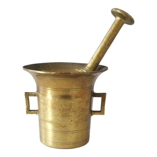 Antique Brass Mortar & Pestle Solid Brass Apothecary Tool
