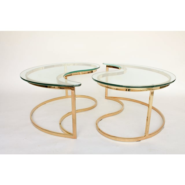 Yin Yang Brass & Glass Side Tables - A Pair - Image 3 of 7