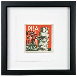 Framed Vintage Pisa Hotel Luggage Label