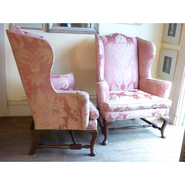Vintage Cherry Wingback Chairs - a Pair - Image 4 of 6
