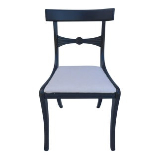 Recency Chair Painted in Dark Gray Linen Upholstery