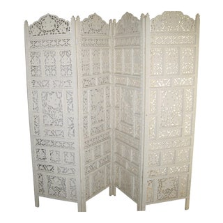 Antique Carved Painted 4-Panel Screen/Room Divider