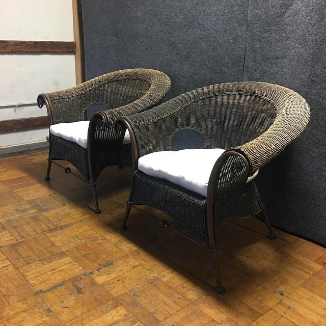 Wood & Iron Outdoor Armchairs W/ Seat Cushions - A Pair - Image 3 of 10