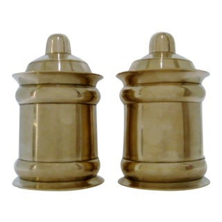 Brass Lidded Canisters - a Pair