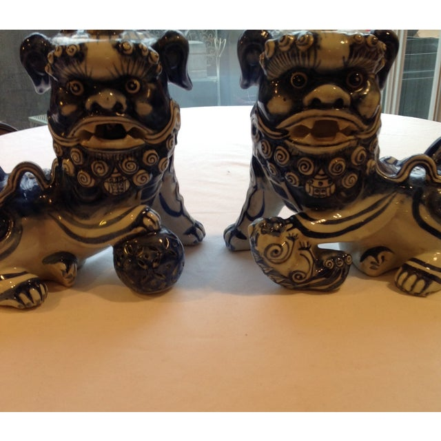Blue & White Porcelain Foo Dogs - A Pair - Image 3 of 7