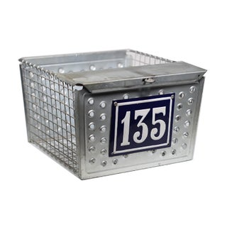 1930s Industrial Metal Basket with Porcelain Number Plate
