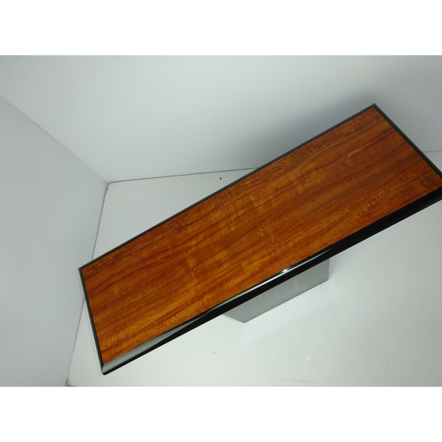 T Shaped Black & Wood Grain Console - Image 6 of 7