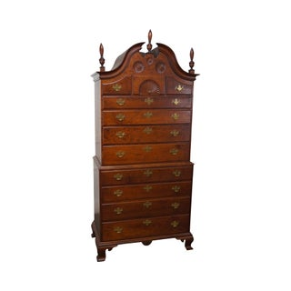 Eldred Wheeler Chippendale Style Bonnet Top Solid Cherry Wood Chest on Chest