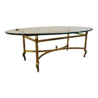 Regency Brass Base & Glass Top Coffee Table