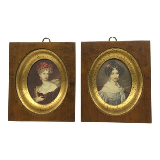 Solid Wood Framed Victorian Ladies Painting - A Pair