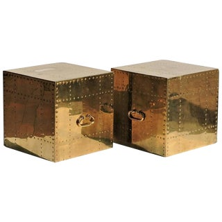 Sarreid Ltd. Studded Brass Cube Tables - A Pair