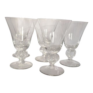 Mid-Century Clear Glass Ball Stem Bar Glasses - Set of 5