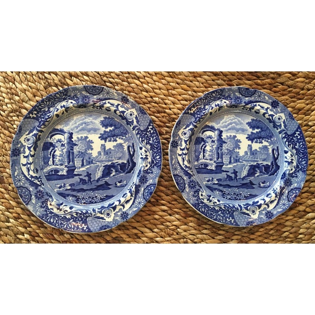 Antique Spode Italian Blue & White Transferware Plates - A Pair - Image 2 of 8