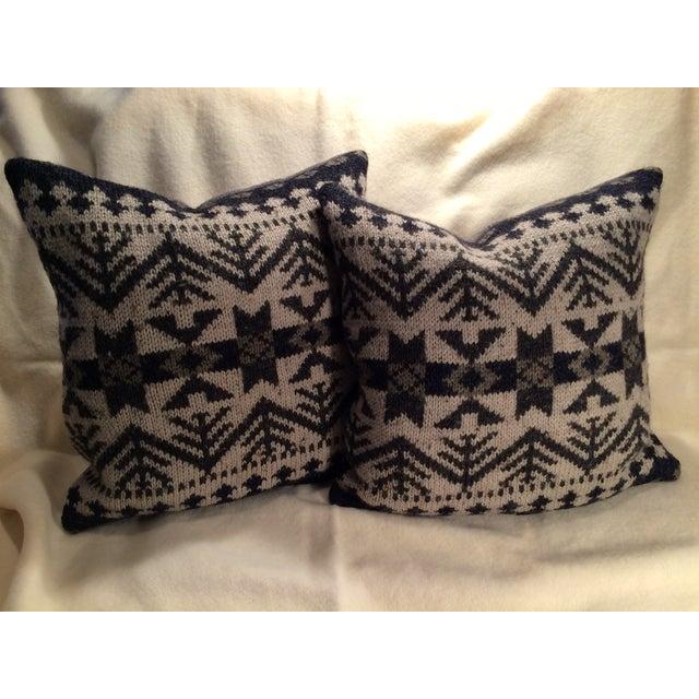 Vintage Blanket Pillows - Pair - Image 2 of 5