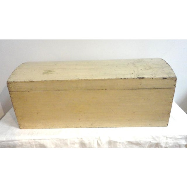 Image of 19th Century Original Cream Painted Dome Top Trunk from New England