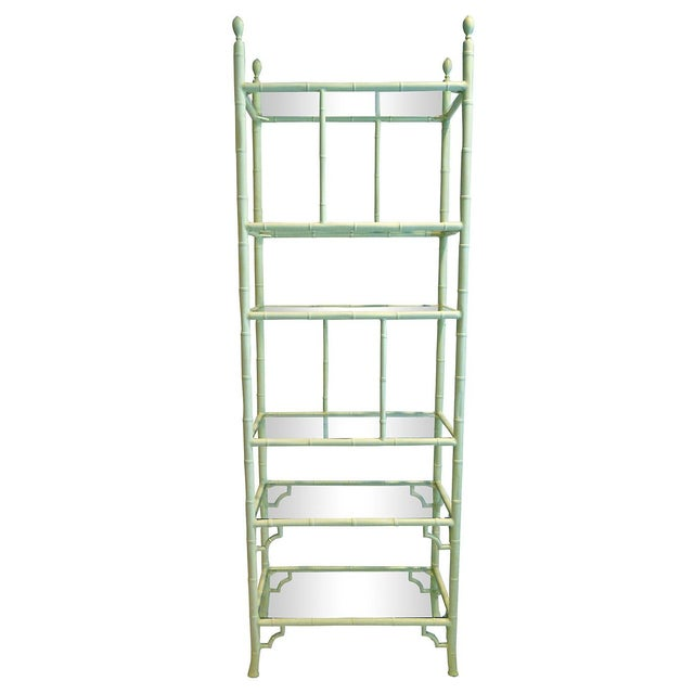 aluminum chippendale faux bamboo etagere chairish. Black Bedroom Furniture Sets. Home Design Ideas