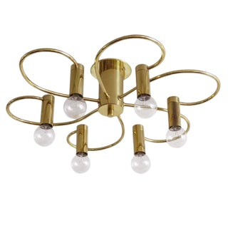 German Six-Arm Flush Mount Chandelier