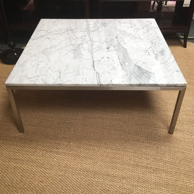 Square Coffee Table Marble Top: Crate & Barrel Square Stainless Steel & Marble Top Coffee