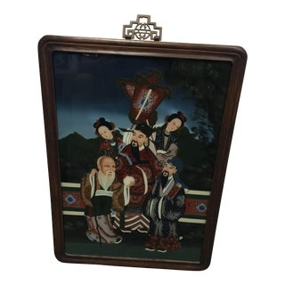 Antique Chinese Emperor Reverse Painting on Glass