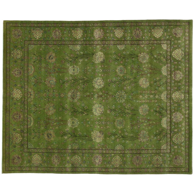 Image of Transitional Indian Rug in Green - 8′1″ × 10′
